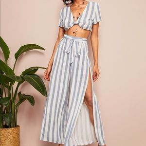 Blue and white striped co-ord pant set